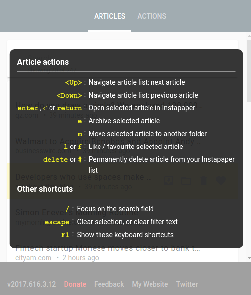 AcceleReader for Instapaper - Article list keyboard shortcuts