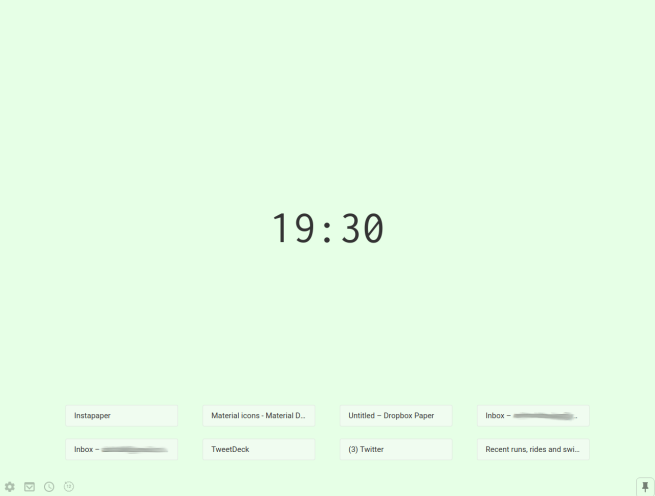 Pastel new tab, with clock and top websites