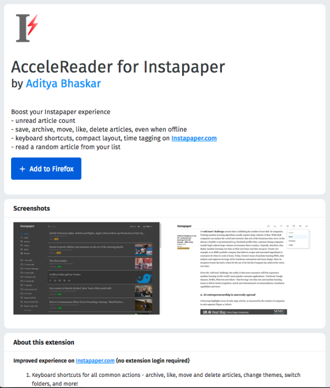 AcceleReader for Instapaper on Firefox add-ons store