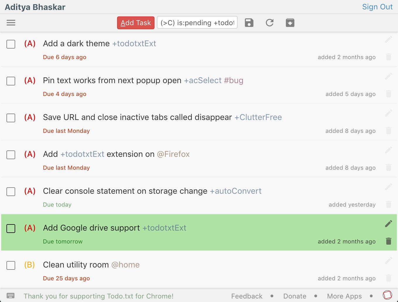 Todo txt for Chrome – light theme with green highlight – App