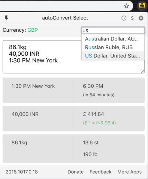 Switching currency to USD