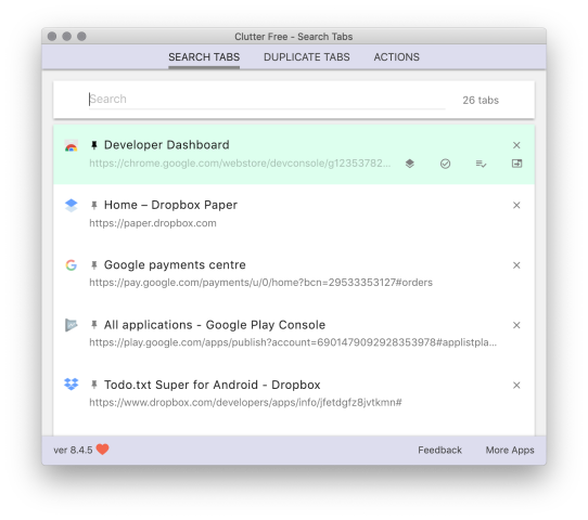 Clutter Free – Dark mode in tab search (Supporters only